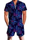 Goodstoworld Herren Jumpsuit Kurz 3D Druck Sommer Zipper Anzug Grandad Shirts Overall Onesie Strampler Tropical Blumen XL