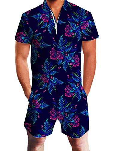urz Herren 3D Tropische Blumen Overall Strampler Sommer Zipper Grandad Shirts Onesie Jumpsuits Kostüm Anzug M ()