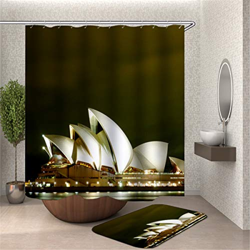 Fansu Duschvorhang Anti-Schimmel Wasserdicht Antibakteriell 3D Stadt, 100% Polyester Transparent Karikatur Vorhang für Badzimmer Digitaldruck mit 12 Duschvorhangringe (180x180cm,Sydney)