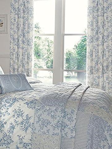 Marina Bleu Croquis Floral Mélange de coton réversible housse de couette/Parure de lit avec taies d