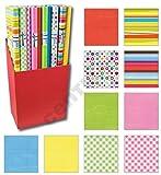 6er Rollen Set Streifen Punkte Kreise einfarbig Wellen gemustertes buntes Geschenkpapier 200 x 70 cm verschiedene Designs