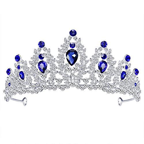 Fablcrew Blau Strass Diadem Haarspange Krone Metalltiara Brauttiara Die Diadem Sehr schöne Glitzerkrone 14,3 * 6,4 cm