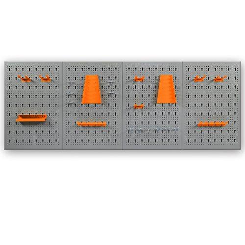 Werkzeugwand / Werkstattwand inklusive Haken - wahlweise mit 11 oder 22 tlg. Halterungsset - in XL oder XXL Ausführung Lochwand Werkzeughalter (XXL Werkzeugwand + 2x Halterungsset) -