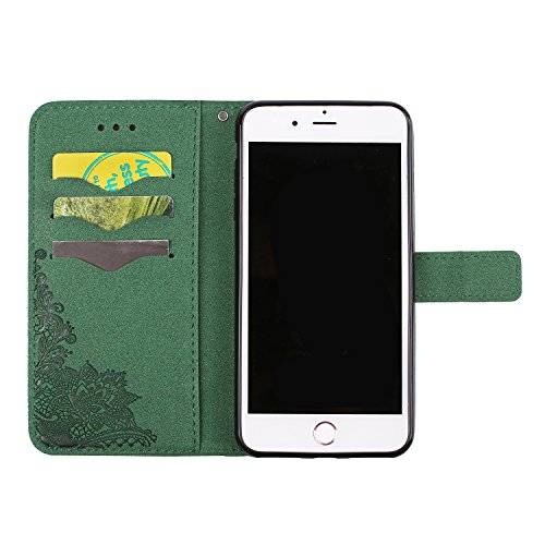 iPhone 7 Plus (5.5 pouce) Coque , PU Cuir Étui Protection Wallet Housse la Haute Qualité Pochette Anti-rayures Couverture Bumper Magnétique Antichoc Case Anfire Cover pour iPhone 7 Plus - Noir Vert
