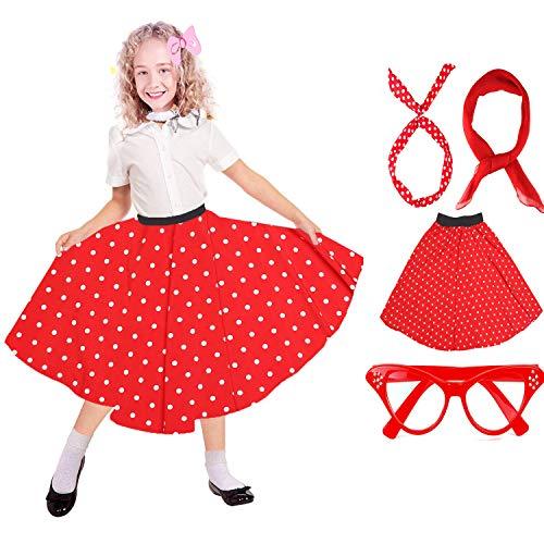 Kostüm Zubehör Set Mädchen Vintage Polka Dot Rock Schal Stirnband/Bobby Socken Cat Eye Brille 50er Jahre Kind Kostüm (B-Red) ()