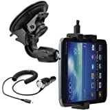 Car Truck Vehicle Mount Holder Car Holder Car Mount Holder Car BUS Tablet PC Mount for Samsung Galaxy Tab 3 8.0 (Sm-t310)/Tab 3 8.0 3 G (Sm-t311)/Tab 3 8.0 LTE (Sm-t315)/Tab 3 Lite 7 (Sm-t110)/TabPro 8.4 (Sm-t320/Sm-t320)/Tab 4 7.0 (Sm-t230/T231/T235)/Tab 4 8.0 (Sm-t330/T331/T335)/Tab S 8.4 (Sm-t700/T705) ; Huawei MediaPad X1 7.0/MediaPad M1 8.0 Car Charger (7d-501l) Incl./ Recharger Cable