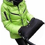Baby-joy Colour Negro Manguito del calentador de manos - Rosa protección para las manos para carrito de bebé guantes de trineo guantes de MU-06
