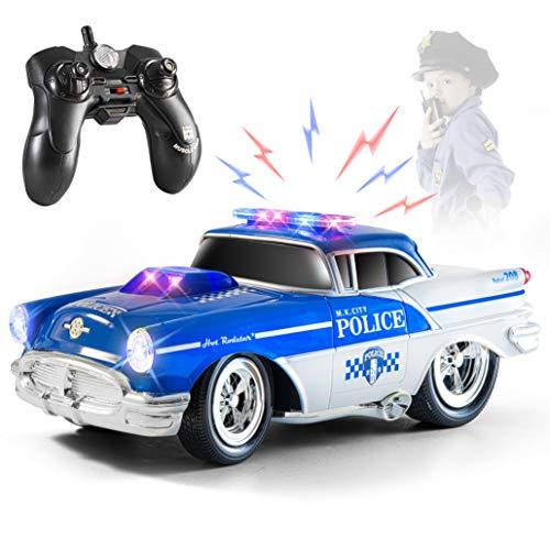Top Race Fernbedienung Polizeiwagen Spielzeug, RC Auto für Kinder, Geschenk für Jungen 2,3,4,5,6,7 Jährige | Lichter und Töne Gummireifen, Hochleistungs-RC-Polizeiwagen-Spielzeug