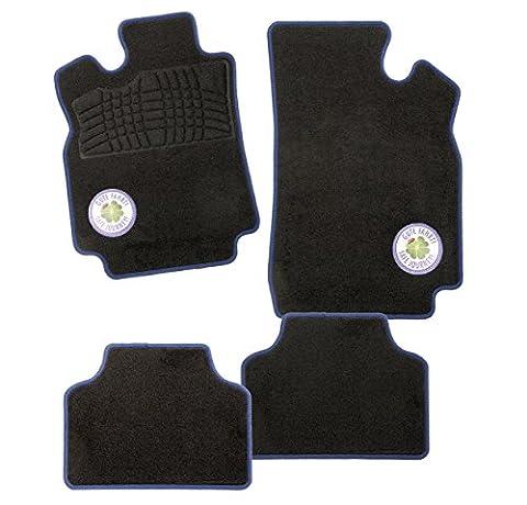 CarFashion Glücksklee B02, Auto Fussmatten Set 4-teilig in schwarz mit farbigem Glücksklee Logo VLR, ohne (01 Honda Prelude Basis)