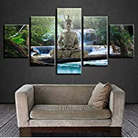 ycmjh Art Print HD Decoration Unit 5 pieces Golden Buddha Meditation Waterfall Landscape Painting Canvas Modular Image for Living Room Wall,Size2
