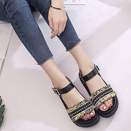 Lgk & fa estate sandali estivi da donna con suola spessa con sandali piatti con muffin Black