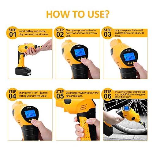 KYG Compresseur Voiture Portable avec Lampe LED Compresseur dair /Électrique Digital avec /Écran LCD Gonfleur sans Fil Batterie Lithium Rechargeable 12V 130PSI