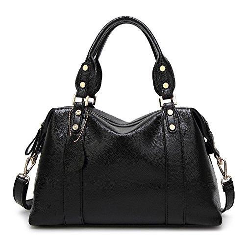 Meaeo Eine Neue Europäische Mode Tasche Retro Boston Handtasche Mit Hoher Kapazität, Schwarz -