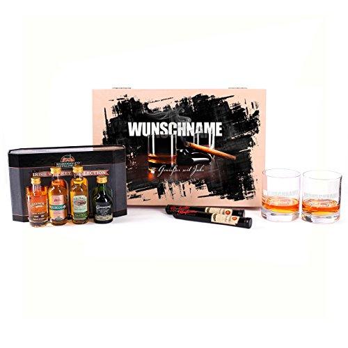 Privatglas Genießerpaket Irish Kilbeggan Wisky mit Glenfarclais Zigarren - 9tlg. - Whiskygläser mit Gratis Gravur
