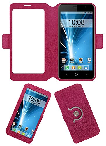 Acm SVIEW Window Designer Rotating Flip Flap Case for Intex Aqua Star 5.0 Mobile Smart View Cover Stand Pink