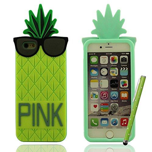 """Ananas Entwurf ''PINK'' Serie, Weich Schutzhülle Hülle für iPhone 6 6S 4.7"""", Prämie Silikon-Gel Case Cover Bumper Soft Case + 1 Stylus-Stift Gelb"""