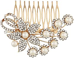Dazzle Collections Women's Hair Clips (DC-HA-AC-10007-G, Golden)