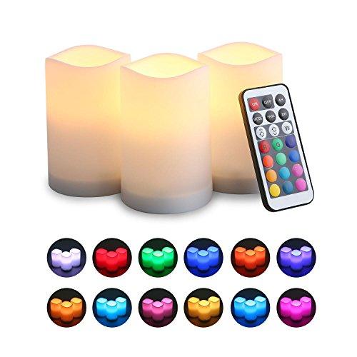 KOBWA - Velas LED sin Llama con Cambio de Color, Mando a Distancia y Temporizador de Apagado automático, 100 Horas de Tiempo de Funcionamiento, Funciona con Pilas. Paquete de 3 Unidades