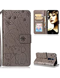 ZCXG Compatible with Nokia 7.1 / Nokia 7 2018 Case Grey Flower Elephant Clear Leather Wallet Flip Shockproof Phone Protective Shockproof Ultra Slim Cover for Nokia 7.1 / Nokia 7 2018