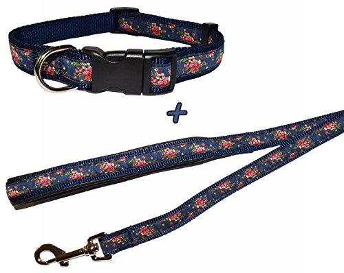 navy-bloom-dog-collar-and-lead-set-choose-size-medium-collar-lead