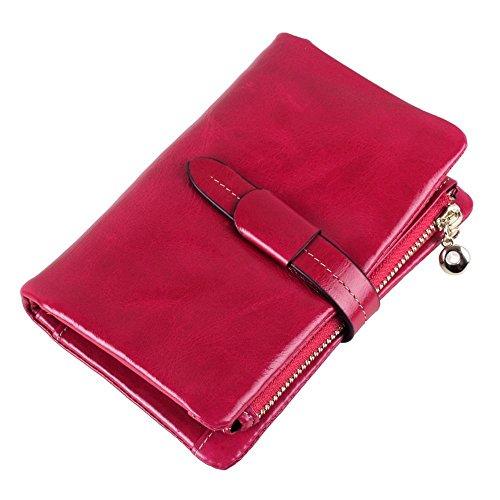 Penao Oldtimer Öl Wachs Leder Dame Geldbörse Dreischicht-Leder Brieftasche 13cmx9cmx2.5cm
