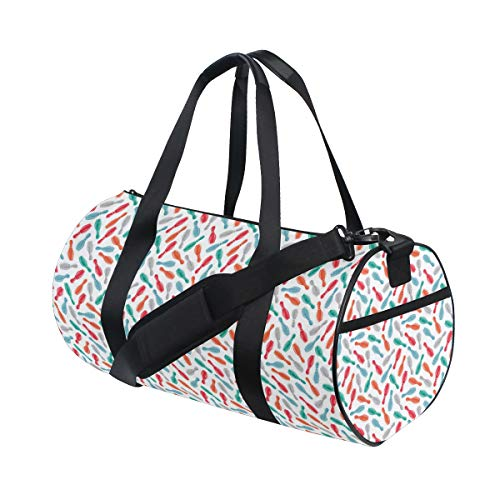 ZOMOY Sporttasche,Bowling Aquarell Kegel drucken,Neue Bedruckte Eimer Sporttasche Fitness Taschen Reisetasche Gepäck Leinwand Handtasche