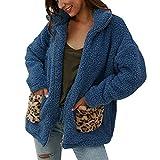 CLOOM Abrigos Mujer Invierno Talla Grande Sudaderas con Capucha y Bolsillo Casual Cremallera Felpa Suéter Tops de Manga Larga Impresión Leopardo Cálido Ropa Chaqueta de Empalme