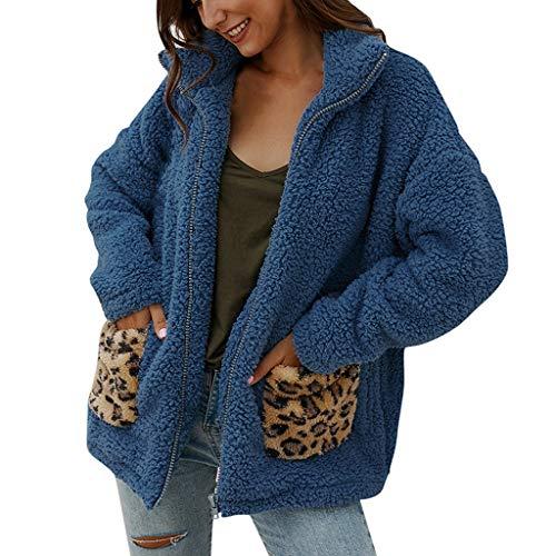 Xuthuly Frauen Winter Mode Sexy Leopard Patchwork Fleece Halten Warme Jacke Strickjacke Mit Tasche Damen Casual Langarm Reißverschluss Mantel Oberbekleidung