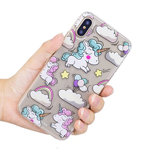 Cover iPhone X, Voguecase Custodia Silicone Morbido Flessibile TPU Transparent Custodia Case Cover Protettivo Skin Caso Per Apple iPhone X(fiore Skull 12) Con Stilo Penna Rainbow Unicorno 05