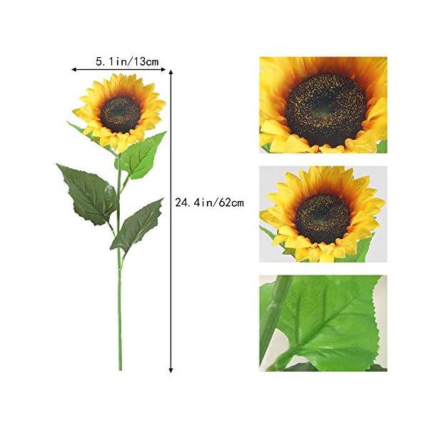 HUAESIN 6pcs Girasoles Artificiales Grandes 62cm Tallo Individual Plastico Flores Artificiales Decoracion Amarilla para…
