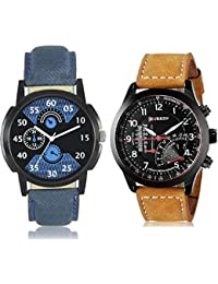 Swadesi Stuff Black Stylish DIal Premium Quality Leather Belt Watch Combo Of 2 Watches For Men& Boys