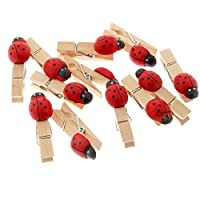 Corsage Creations - 5cm Wooden Pegs with Ladybirds - Natural & Red (5cm Long, 25pcs per pk)