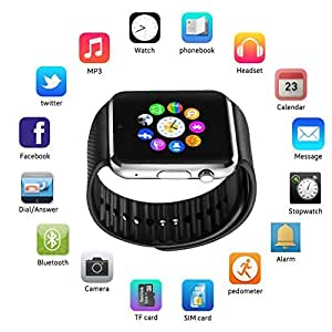Mobilefit Bluetooth Smart Watch (Silver) Bluetooth GT08 Wrist Watch Phone with Camera & SIM Card Support with Apps Touch Screen, Multi Language Compatible for Lava iris N320