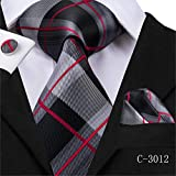 HDHFC Plaid Tie Woven Red Grey Plaid Krawatte Einstecktuch Manschettenknöpfe 你 Klassische Herren Hochzeit Einstecktuch Krawatte