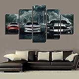 LA VIE 5 Teilig Wandbild Gemälde Auto im Regensturm Hochwertiger Leinwand Bilder Poster Drucken Moderne Kunstdruck für Zuhause Wohnzimmer Schlafzimmer Küche Hotel Büro Geschenk