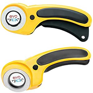 Rotary Cutter 45mm / Paper Cutter / Fabric Cutter for Quilting, Dressmaking & Sewing - Cutting Tool for Cutting Fabric, Card, Paper, Leather - Lighter & Less Bulky - Easy Grip & Sharp Steel Blade Cuts Multiple Layers - Can Be Used Left Handed