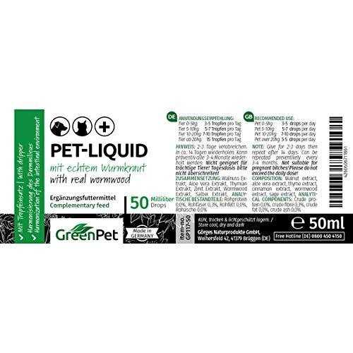 51VFdILGSXL - GreenPet Pet Liquid Desparasitación Anti Gusanos. Apto para perros, gatos y aves.