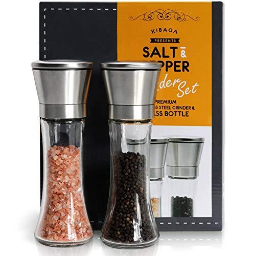 KIBAGA Premium Salz und Pfeffer Mühle Im 2er Set - Edelstahl Gewürzmühle mit Keramikmahlwerk - Perfekte Salzmühle & Pfeffermühle Für Frisch Gemahlene Gewürze, Salz & Pfeffer