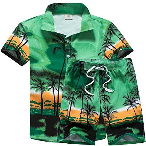 Jeelinbore shirt camicia hawaiana pantaloncini per uomo, stampe di palme, costume da spiaggia party fancy dress (verde, 3xl)