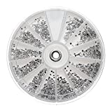 TENGGO 2400Pcs Chiaro Argento Gemme Nail Art Round Strass Glitter Wheel