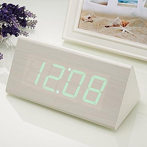 Creative silenciar el timbre del despertador cama perezoso luminiscentes y preciosa madera led moda reloj control de reloj electrónico,L