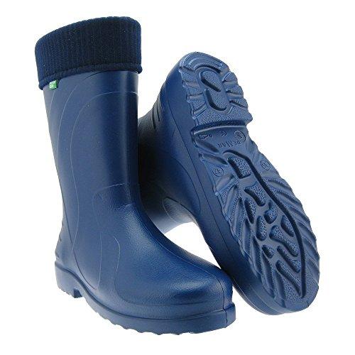 GALLUX - Damen Regenstiefel Gummistiefel EVA Stiefel mit warmen Fleece Innenschuh Blau