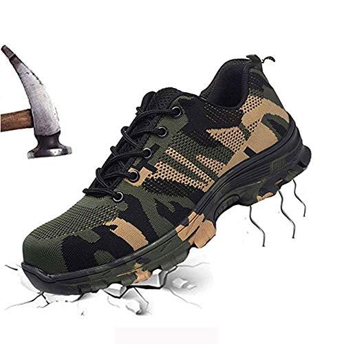 Scarpe di sicurezza per uomo e donna in acciaio da lavoro, scarpe da ginnastica leggere traspiranti per esterni da costruzione industriale Scarpe da trekking per esterni a prova di puntura,Yellow,44