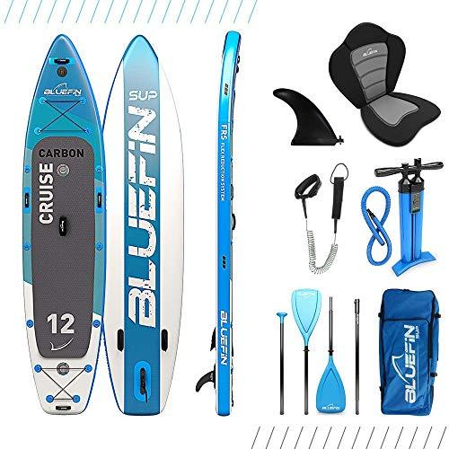 Paquete de Sup Bluefin Cruise | Tabla de Paddle Surf Hinchable | Remo de Fibra de Vidrio | Kit de Conversión a Kayak | Accesorios Completos | Varias Medidas: 10'8, 12', 15' (Carbon 365cm)
