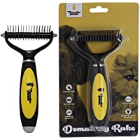 Thunderpaws Pet Dematting Rake - Ergonomic De-Matting Comb for Dogs and Cats - Remove Mats and Tangles Coats Safely with Rounded End Blades and Extra Wide Head