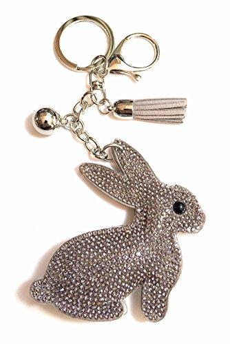 FizzyButton Gifts Häschen-Silhouette Schlüsselanhänger Handtasche Charme - beige Grau mit Strass und Quaste - Strass Beige Handtasche