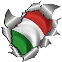 Totally Graphics small size Italian Flag Metal Rip Open Sticker