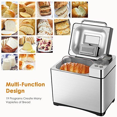 comprare on line Macchina Del Pane Aicok 19 Programmabile Bread Maker Auto Per Fare Pane, Marmellata, Yogurt, Modalità Senza Glutine, Auto Distributore di frutta, Capacità 1kg, 650W prezzo