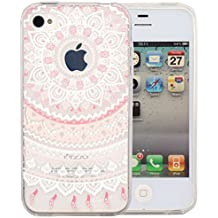 JIAXIUFEN teléfono caso cubrir volver piel protectora Shell Carcasas Funda para iPhone 4 4S - Pink White Tribal Mandala Dream Catcher