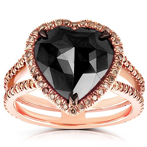 e Schwarz Diamant Halo Ring 5ctw in 18K Rose Gold _ 7.0 (Black Diamond Halo-ring)